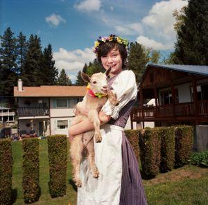 Girl and Her Pet Goat, Maifest, Leavenworth, Washington, 2014