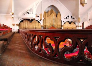 This organ was constructed in Northville, Michigan and was installed before the turn of the twentieth century.  © Nicholas Gregory