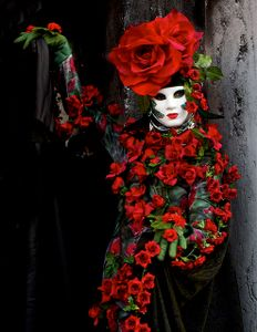 Woman in Red Roses