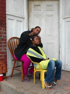 April Braiding Kyla's Hair, Southwest Side, Detroit 2014