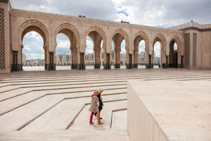 Casablanca, March 2015. Young girls walking near the largest mosque of Morocco : Hassan II.