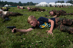 Students train in firearms at the Historical-War Camp, in Borodino, Russia. 24 July 2016. They are using air-soft guns for the practice and competition.