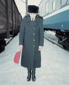 Marina, Miss Belarusian railway in Brest region. She doesn't like her job. Minsk, Belarus.