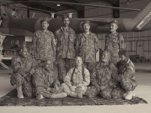 The future leadership of the Afghan Air Force with Major Jason A. Church of the US Marines who is training and funding them. © Simon Norfolk.