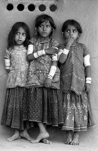 Three Harijan Girls, Kutch, Gujarat, 1979 © Jyoti Bhatt, Tasveer