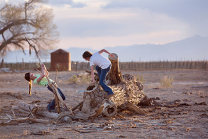 Girls playing in the evening after home school and chores. Dixie Valley, Nevada 2015