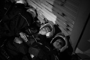 "The siege took its toll on both sides. Here, police officers trying to get some rest in an area close to Taksim Square. From the series ""Witnessing Gezi"" © Emin Ozmen"