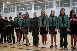 "Students from School #7 practice the day before a ""Inspection of Singing and Marching"" competition at the gymnasium of School #6 for students in the Dmitrov region, a suburb of Moscow, Dmitrov, Russia, 13 Dec 2016."