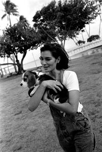 Brook Lee, MISS UNIVERSE® 1997, on the beach wth her dog, Maggie.  Ethnicity:  Hawaiian • Korean • Chinese • Dutch • English • French • Irish • Portugese ©2014, Stephen Shames