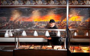 Ben Hawley, 54th Massachusetts, at Pickett's Buffet, Gettysburg, PA, 2010.