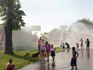 A Group Playing in the Street on a Hot Day, Corktown, Detroit 2013