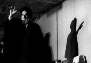 Ayatollah Ruhollah Khomeini, leader of the revolution and founder of Irans Islamic republic waves to the crowd in the northern Jamaran district of Tehran, IRAN - 1980 © Copyright 1979-2009 Alfred Yaghobzadeh. All rights reserved.