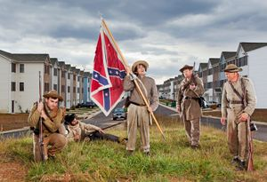 Confederate re-enactors at Germanna Heights apartments, Locust Grove, VA, 2010.