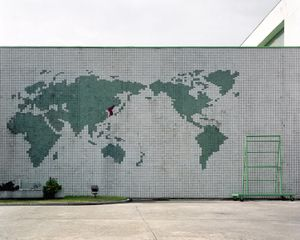 World map mosaic in International Children's Union Camp. The North Korean maps are always represented unified to symbolize the will of reunification. © Maxime Delvaux