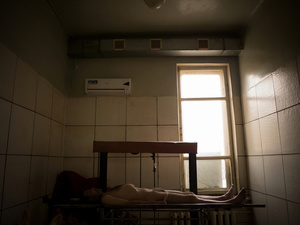 The morgue of the city of Donetsk. Everyday dozen corpses arrive from the frontline. Most of them are not recognized.