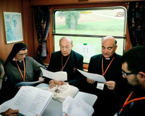 Austria.  2010. Traveling from Sankt Po?lten to Mariazell during a Pilgrimage of the CCEE Environment Commission. Mgr. Le?onard, archbishop of Mechelen-Bruxelles e Mgr. Massafra bishop of Scutari-Pult (Albania), lead the morning prayer.