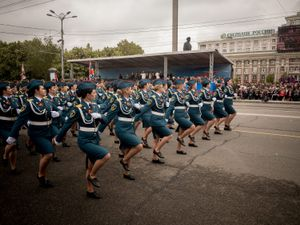Parade during Victory Day, a display of affinity towards Russia.