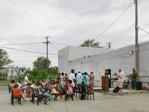 Outdoor Church Service, Lower Eastside, Detroit 2010