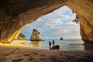 The Moment under the Arch of Cathedral Cove Coromandel New Zealand