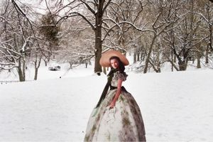 """From the series """"Scarlett America: American Wanderings of a Cardboard Stand-up"""", Scarlett in Central Park, New York, December 2008"""