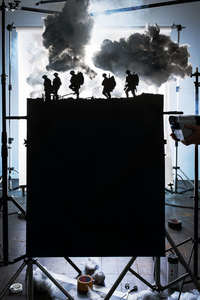 """Making of """"Five Soldiers Silhouette at the Battle of Broodseinde"""" (by Ernest Brooks, 1917), 2013"""