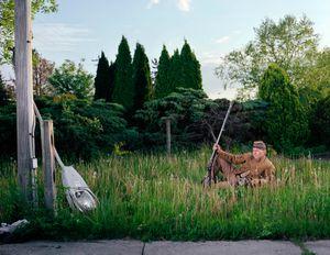 Tim Cole resting along York Pike, Gettysburg, PA, 2010.