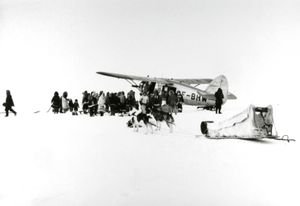 "A ""Norseman"" plane arrives in dim arctic light, Coppermine, NWT © Estate of Richard Harrington and courtesy of Stephen Bulger Gallery"