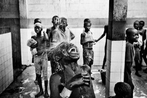 Children at a centre for street kids in Kinshasa. Many children are made homeless after being accused of being sorcerers when a family suffers bad luck and economic hardship. 2005.