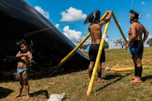 Indigenous family just arrived in Brasilia builds a hut