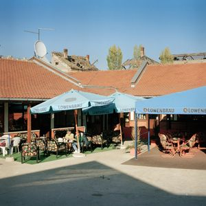 A small commercial courtyard recently opened with some shops and cafes. © Colin Dutton