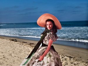 """From the series """"Scarlett America: American Wanderings of a Cardboard Stand-up"""", Scarlett in Trestles, California, August 2008"""