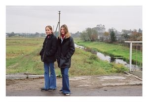 Rasa and Kristina aside of the bridge over the Krazante river, October 2002 © Mindaugus Kavaliauskas