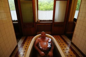 A patient takes a mineral bath in Sochi at a place calledMatsesta,  the largest medical and balneal resort of Russia. Matsesta was established in 1902 on the base of healing hydro sulfuric springs.