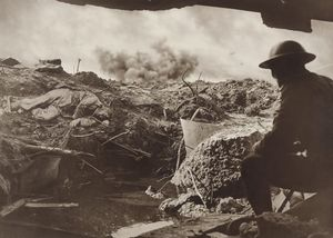 Frank Hurley. Looking out from the entrance of a captured Pill-Box on to the shell ravaged battlefield, 1917/1918 © Mitchell Library State library of New South Wales