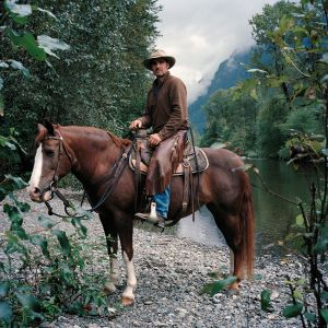 Eric and his horse Hollywood by the Snoqualmie River, Washington