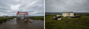 Marjories Bridge, Northern Peninsula; Upside-down car and fishing shack, Northern Peninsula