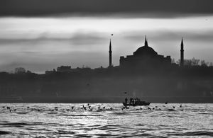 Fishing in  front of  Hagia Sophia