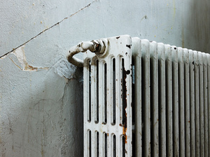 Radiator at the hallway No.21 of the Cité de la Muette building - former Drancy internment camp for confining Jews who were later deported to the extermination camps.