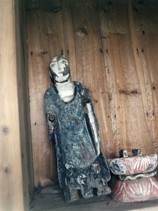 This severely-damaged goddess statue was found several kilometers away from the original place.© Uma Kinoshita