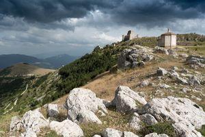 Rocca di Calascio and the basilica of Santa Maria della Pietà, Abruzzo, Italy