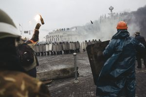After the first killed to the European square moved second wave to attack riot police. Kiev, Feb. 20, 2014.