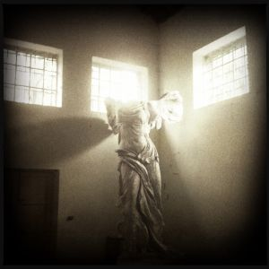 (Kikonians) - Samothrace Greece, March 2012 - In the last room of the Sanctuary of the Great Gods Museum, a copy of the Nike of Samothrace appears like a vision. The original one was discovered and brought to the Louvre Museum by the french consul and archeologist Charles Champoiseau in 1863.
