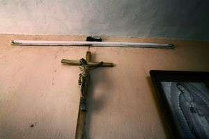 Religious items hanging on the wall of Oasis. © Meeri Koutaniemi