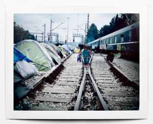 A scene of daily life plays out in the Idomeni refugee camp: kids playing by the railway tracks. Idomeni, Greece, April 2016.