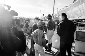 Jockey being weighed post-race.