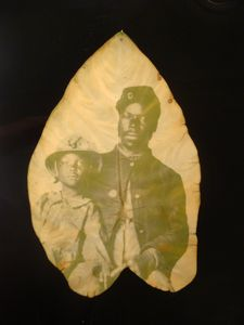Unidentified Union soldier with family (detail); chlorophyll print and resin; 13 x 10 inches