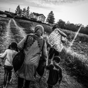 A Syrian refugee family arrives into Croatia from Serbia, hoping to board the train in Tovarnik.