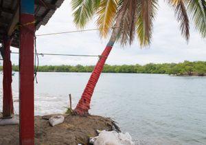 Barra de Potosi after the flooding of the lagoon. Ixtapa.