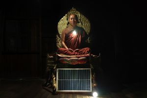 U Ku Tha La, 38, head monk at Nang Mal Khon Phoe Pyar Monastery. Kaw Ku Village, Kayah State.