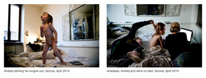 Andreij sticking his tongue out, Verona, April 2014/Anastasia, Andreij and Alice on bed, Verona, April 2014
